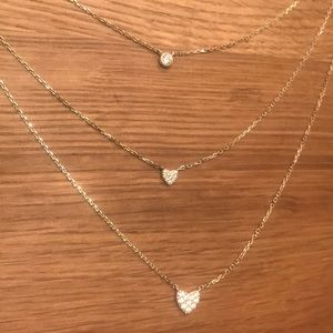 Jewelry - Three layer dainty gold sterling silver necklace